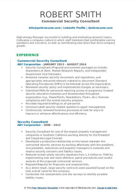 Security Consultant Resume Samples   QwikResume