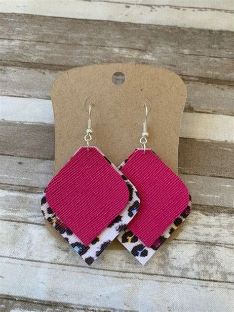 Faux Leather Earrings Cheetah Print Pink Two Layer   Etsy