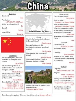China Worksheet by Middle School History and Geography   TpT