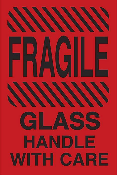 """""""Fragile/Glass/Handle with Care"""" Label - 4 x 6"""" S-14105"""