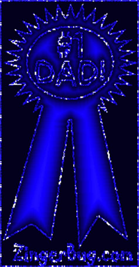 Number 1 Dad Blue Ribbon Glitter Graphic, Greeting