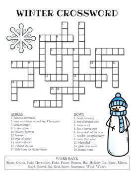 Winter Crossword Puzzle by Celebration Station   TpT