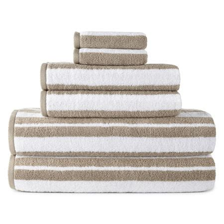 JCPenney Home Striped Bath Towel, One Size , Beige