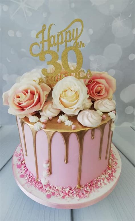 ladies gold drip cake with silk roses in 2020 | 30th