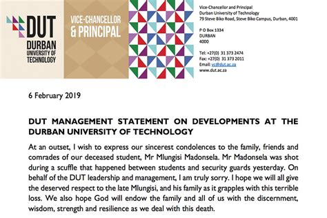 Statement from DUT management following the threatening