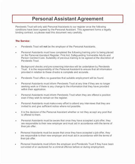 Personal assistant Agreement Luxury 9 Sample Personal